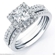 Petite 2.5 carat .925 Sterling silver Jacket style Connected Trio Wedding Set Featuring a 6mm (1 carat) AAA Princess square cut center