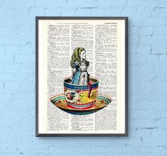 Alice in Wonderland- Alice in a tea cup- Mad hatter tea party - illustration print on dictionary, Wall hanging, Alice in Wonderland BPAW011 by PRRINT on Etsy https://www.etsy.com/listing/184157704/alice-in-wonderland-alice-in-a-tea-cup