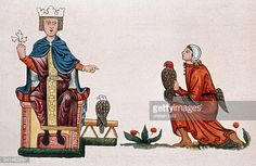 Middle Ages Miniatures Friederick II *1194-1250+ German King 1196/97 and from 1212 Holy Roman Emperor from 1220 Frederick II with his falconer - miniature from the manuscript about falconry 'De arte venandi cum avibus', that was owned (written?) by Frederick II Codex Palatina 1071 / Biblioteca Apostolica Vaticana, Rome - 13th century