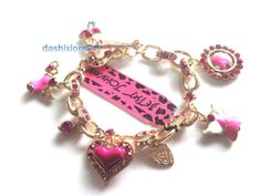 Fashion Gold Plated Bling Crystal Enamel Heart Dog Tags Charms Bracelets