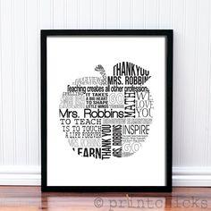Teacher Gift - Retirement Gift - Custom Print - Apple Typography Teacher Gift - Personalized Poster - 8 x 10. $30.00, via Etsy.