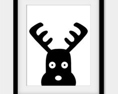 50% OFF Moose Print, Printable Nursery Wall Decor, Black and White Nursery Art, Scandinavian Print, Black Moose Poster, Scandinavian Art