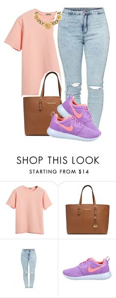 """""""⛱⛱"""" by deasia-still-thugin-honey ❤ liked on Polyvore featuring beauty, Chicnova Fashion, MICHAEL Michael Kors, NIKE and Versace"""