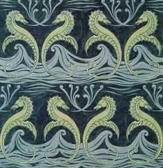 Seahorses wallpaper design by CFA Voysey, Art Nouveau or Arts and Crafts Motif Art Deco, Art Nouveau Design, Art Design, Textile Patterns, Textile Design, Print Patterns, Needlepoint Patterns, William Morris, Surface Pattern Design