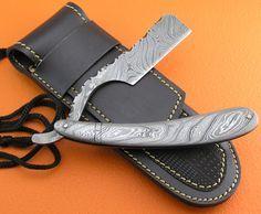 Full Damascus Folding Razor Knife Custom Handmade Damascus Steel Gentleman's Wet Shaving Grooming Straight Razor Knife With Leather Sheaths 2102