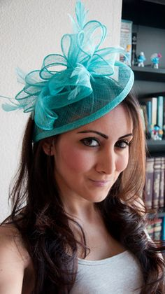 """Tiffany Blue Fascinator - """"Penny"""" Mesh Hat Fascinator with Mesh Ribbons and Tiffany Blue Feathers"""