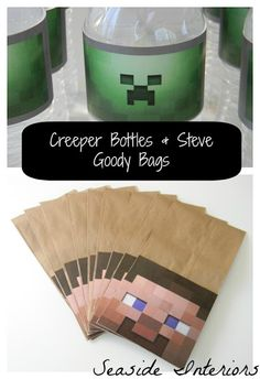 Minecraft Party steve bags #minecraft #minecraftparty