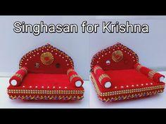 Singhasan for Krishna/Janmasthmi Decoration Ideas/Krishna Singhasan from Cardboard/Ladoo Gopal Asan Cd Crafts, Crafts For Kids, Paper Crafts, Creative Names, Creative Art, Janmashtami Decoration, Ladoo Gopal, Pooja Rooms, Useful Life Hacks