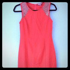 Red mini dress New, size small. Very nice form and comfortable. Looks elegant to wear with black or pewter heels Tinley Road Dresses