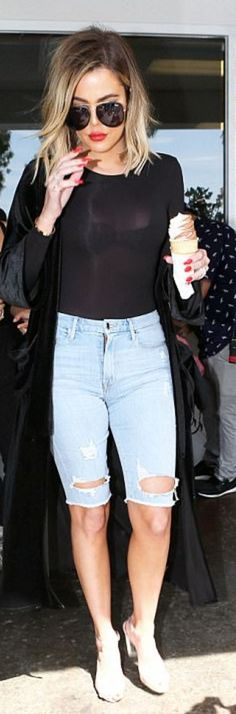 Who made   Khloe Kardashian's black sunglasses, long sleeve top, velvet duster coat, denim shorts, and clear sandals?