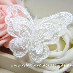 2 PCS 2 Layers Off White Embroidery Organza Lace by LaceDecoration, $5.00