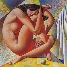 Georgy Kurasov (Russian, b. 1958), oil on canvas {abstract cubism geometric art deco nude female painting} kurasov.com