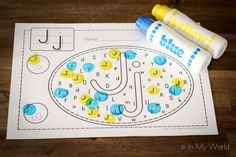 Upper case and lower case Letter Find (Includes link to free printable). Letter J Activities, Preschool Letters, Preschool Literacy, Craft Activities For Kids, Kindergarten Activities, Zoo Phonics, Teaching The Alphabet, Learning Letters, Alphabet Letter Crafts