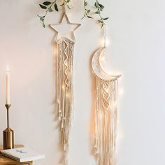 Hand Made Macrame Moon & Star Cotton Macrame Design, Macrame Art, Macrame Projects, Macrame Modern, Modern Boho, Macrame Wall Hanging Patterns, Macrame Patterns, Macrame Wall Hangings, Wall Hanging Crafts