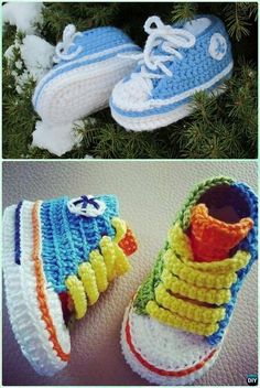 Crochet Baby Converse Booties Free Pattern- #Crochet Ankle High Baby #Booties Free Patterns