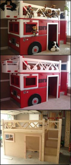 How To Build A Fire Truck Bunk Bed theownerbuilderne. Kids love bunk beds, but. How To Build A Fire Truck Bunk Bed theownerbuilderne. Kids love bunk beds, but you don't have to spend a lot of money . Bunk Beds With Stairs, Kids Bunk Beds, Boys Bedroom Ideas With Bunk Beds, Loft Spaces, Kid Spaces, Diy Bett, Bunk Bed Designs, Bedroom Designs, Fire Trucks