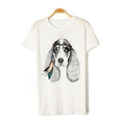 Cute Dog Graphic Tee (68 ILS) ❤ liked on Polyvore featuring tops and oasap