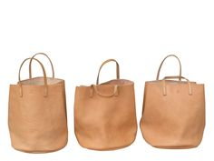 Milled Vegetable tanned leather tote, MARGUERITE- Sold out