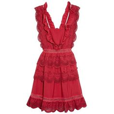 Self-portrait Tiered broderie-anglaise mini dress (28.880 RUB) ❤ liked on Polyvore featuring dresses, red, red ruffle dress, sleeveless dress, red mini dress, low back dress and red dress