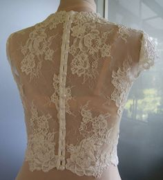 Wedding bolero-top-jacket with lace sleeve short front by TIFFARY