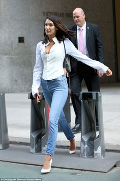 Read to move on: Her beautiful brunette tresses blew in the breeze as she left the VS building