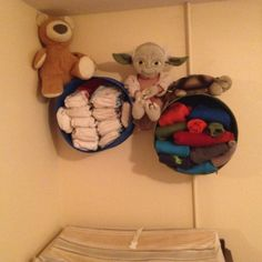Wood cheese wheel case shelves (cloth diapers and wool clovers) Cloth Diaper Organization, Clovers, Cloth Diapers, Shelves, Cheese, Wool, Projects, Baby, Log Projects