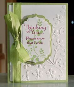 Handmade Sympathy Card Stampin' Up Thoughts & by WhimsyArtCards