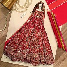 Golden zari by Jawad The Pakistani Bride Dress Design Sketches, Fashion Design Sketchbook, Fashion Design Drawings, Fashion Sketches, Drawing Sketches, Fashion Drawing Dresses, Fashion Illustration Dresses, Fashion Dresses, Fashion Illustrations