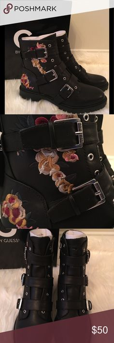 New in Box Guess Prezident Combat Boots New in Box Guess Prezident Combat Boots. Floral embroidery puts a feminine spin on these black combat boots. Buckle details, with interior side zippers. So stylish! Multiple sizes available. G by Guess Shoes Combat & Moto Boots