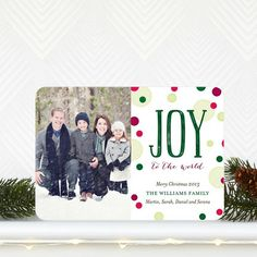 Delightfully Dotted - Holiday Photo Card comes in a merry Spruce Green