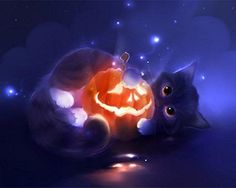 You too can be an artist when you paint with Diamonds! Every kit gives you a chance to create a work of art you can be proud of. This diamond painting kit Cross Paintings, Animal Paintings, Animal Drawings, Pet Anime, Anime Animals, Art Halloween, Halloween Pictures, Devian Art, Pumpkin Art