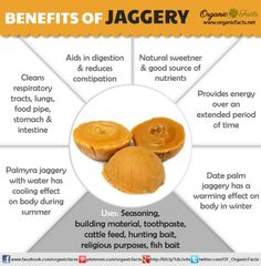 Health Benefits of Jaggery | Organic Facts: The benefits of jaggery include its ability to cleanse your body, act as a digestive agent, sweeten your food in a healthy manner, and provide good amounts of minerals.