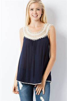 spring latest looks from maxi dress to party dresses, cute tops, shoes and Crochet Yoke, Crochet Shirt, Elegant Summer Outfits, Navy Lace, Couture, Simple Dresses, Hippie Style, Crochet Clothes, Blouses For Women