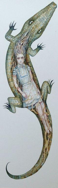dominic murphy | ... Watercolour Painting Crocodilia Fantasy Dominic Murphy ART signed