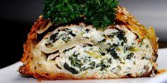 Vynikajúca slaná roláda z lístkového cesta Spanakopita, Ricotta, Quiche, Chicken, Meat, Breakfast, Ethnic Recipes, Food, Hampers