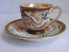 Dragonware Demitasse Cup & Saucer Luster Gold Hand Painted JAPAN Vintage