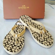 NWT! COACH FLIP-FLOPS! Brand new,comes with the box. So cute. The gold metal ribbon in the front is just beautiful:) Coach Shoes Slippers