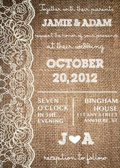 Lace & Burlap Rustic Wedding Invitation by AestheticJourneys, $25.00