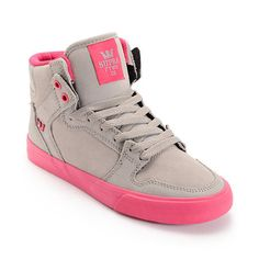 new product 84ed9 21844 Supra Womens Vaider Grey Suede   Magenta Shoe at Zumiez   PDP