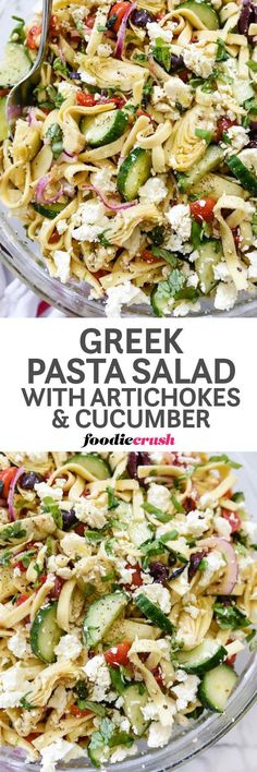 Healthy Easy Greek Pasta Salad Recipe with artichokes and cucumber | Potluck Pasta Salad | BBQ Pasta Salad Recipe | Summer foodiecrush.com