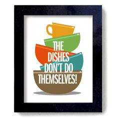 Kitchen Art Wall Print Washing Dishes Colorful Kitchen by DexMex