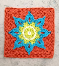 Crochet Stitch Quick Reference : Another Sunflower Block, free crochet granny square pattern by Julie ...