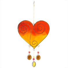 Wholesale Yellow/orange heart suncatcher - Something Different