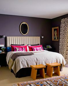 Moroccan Bedroom Decor Ideas Photos Inspiration And Tips Page Moroccan Bedroom Design. Top Interior Home De. Plum Bedroom, Moroccan Bedroom, Cozy Bedroom, Bedroom Colors, Bedroom Decor, Master Bedroom, Bedroom Ideas, Bedroom Inspiration, Bedroom Wall