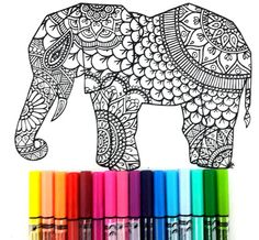 Elephant page coloring in Zentangle style, complex and full of details, great for work with many colors. Art Therapy!  Attached we have 5 images for