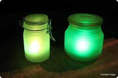 ACCENTS:  Make your own Glow Jars for alternative lighting to candles.  Place anywhere outside, or indoors, for soft illumination.  Great for entertaining. Along a garden path? #springintothedream