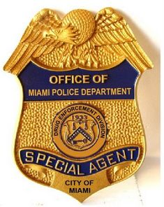 Carved wall plaque of the badge of the Police Department of the City of Miami, Florida. This and similar plaques of any badge can be made in any size from 20 inches to 10 ft high. Us Military Medals, Law Enforcement Badges, Sheriff Badge, Money Notes, Military Insignia, Police Patches, Water Crafts, Good Job, Wall Plaques