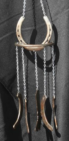 Horseshoe wind chime for the barn.