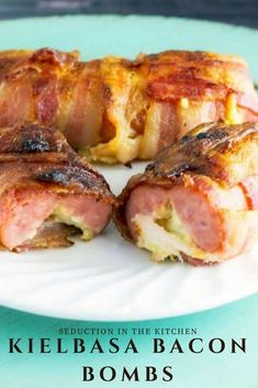 Kielbasa Bacon Bombs is an awesome grilled kielbasa. This bacon bombs recipe is a cheesy stuffed bacon wrapped kielbasa. Ever wonder what to make with kielbasa? Then this grilled kielbasa recipe is your answer! Grilled Kielbasa, Kielbasa Appetizer, Bacon Appetizers, Appetizer Recipes, Tailgate Appetizers, Tailgating, Griddle Recipes, Bacon Recipes, Grilling Recipes