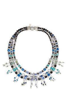 Jewelry Design - Triple-Strand Necklace with Swarovski Crystal Beads, Rhinestone Spacer Bars and Wirework - Fire Mountain Gems and Beads